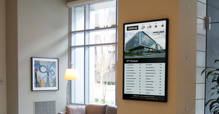 digital building lobby directory system image